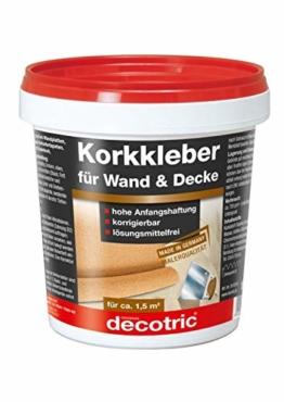 1 kg decotric Korkkleber Gebrauchsfertiger Dispersionskleber zum Kleben von Korkplatten und Korkbahnen an Wänden und Decken. Nicht für Bodenverklebungen - 1
