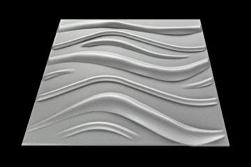 10 m² Platten 3D Polystyrol Wand Decke Paneele Wandplatten 50x50cm, WAVE - 2