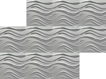 10 m² Platten 3D Polystyrol Wand Decke Paneele Wandplatten 50x50cm, WAVE - 5