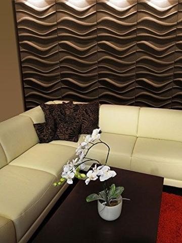 10 m² Platten 3D Polystyrol Wand Decke Paneele Wandplatten 50x50cm, WAVE - 9