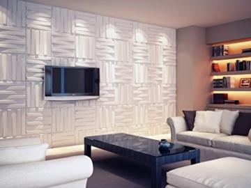 3D-Wandverkleidung für Innenwände, aus Bambus, absolut umweltfreundlich, 12Paneele je 50x50cm = 3m² - 3