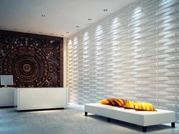 3D-Wandverkleidung für Innenwände, aus Bambus, absolut umweltfreundlich, 12Paneele je 50x50cm = 3m² - 1