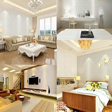 3D Ziegelstein Tapete, Selbstklebend Brick Muster Tapete, Fototapete~Wandaufkleber für Schlafzimmer Wohnzimmer moderne tv schlafzimmer wohnzimmer dekor, 60 * 60cm, weiß (20) - 2
