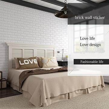 3D Ziegelstein Tapete, Selbstklebend Brick Muster Tapete, Fototapete~Wandaufkleber für Schlafzimmer Wohnzimmer moderne tv schlafzimmer wohnzimmer dekor, 60 * 60cm, weiß (20) - 3