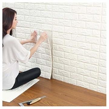 3D Ziegelstein Tapete, Selbstklebend Brick Muster Tapete, Fototapete~Wandaufkleber für Schlafzimmer Wohnzimmer moderne tv schlafzimmer wohnzimmer dekor, 60 * 60cm, weiß (20) - 1