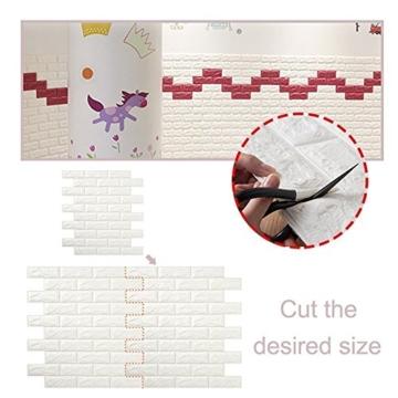 3D Ziegelstein Tapete, Selbstklebend Brick Muster Tapete, Fototapete~Wandaufkleber für Schlafzimmer Wohnzimmer moderne tv schlafzimmer wohnzimmer dekor, 60 * 60cm, weiß (20) - 6