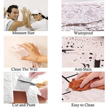 3D Ziegelstein Tapete, Selbstklebend Brick Muster Tapete, Fototapete~Wandaufkleber für Schlafzimmer Wohnzimmer moderne tv schlafzimmer wohnzimmer dekor, 60 * 60cm, weiß (20) - 7