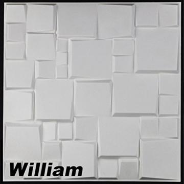 5 m², Paneele 3D Platten Wandpaneele 3D Wandplatten Wand Decke, 50x50cm WILLIAM - 1