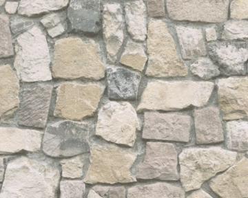 A.S. Création Papiertapete Ökotapete Dekora Natur Tapete in Naturstein Optik fotorealistische Steintapete 10,05 m x 0,53 m bunt creme grau Made in Germany atmungsaktiv feuchtigkeitsregulierend umweltfreundlich 692412 6924-12 - 2