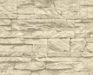A.S. Création Vliestapete Best of Wood and Stone Tapete in Stein Optik fotorealistische Steintapete Naturstein 10,05 m x 0,53 m beige creme Made in Germany 707130 7071-30 - 2