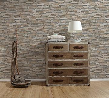 A.S. Création Vliestapete Best of Wood and Stone Tapete in Stein Optik fotorealistische Steintapete Naturstein 10,05 m x 0,53 m beige braun gelb Made in Germany 914217 9142-17 - 5
