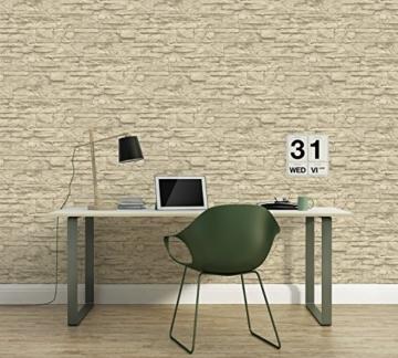 A.S. Création Vliestapete Best of Wood and Stone Tapete in Stein Optik fotorealistische Steintapete Naturstein 10,05 m x 0,53 m beige creme Made in Germany 707130 7071-30 - 4