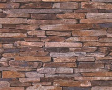 A.S. Création Vliestapete Best of Wood and Stone Tapete in Stein Optik fotorealistische Steintapete Naturstein 10,05 m x 0,53 m beige braun gelb Made in Germany 914217 9142-17 - 2