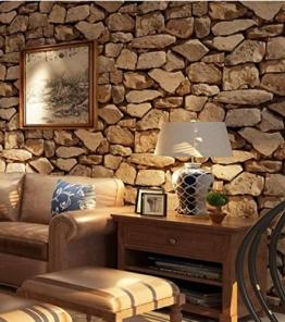HUQI Europäischer Stil Retro 3D Stereo Stein Tapete Simulation Kultur Stein Steine Tapete Study Zimmer Wohnzimmer Restaurant Cafe 0.53M * 10M,Brown - 1