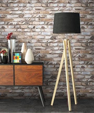 NEWROOM Steintapete Braun Papiertapete Stein Muster/Motiv schöne moderne und edle Design 3D Optik , inklusive Tapezier Ratgeber - 2
