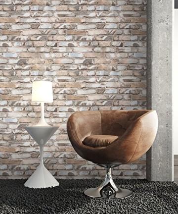 NEWROOM Steintapete Braun Papiertapete Stein Muster/Motiv schöne moderne und edle Design 3D Optik , inklusive Tapezier Ratgeber - 3