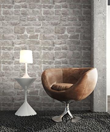 NEWROOM Steintapete grau Vliestapete Jung,Modern,Stein Muster/Motiv schöne moderne und edle Design 3D Optik , inklusive Tapezier Ratgeber - 3