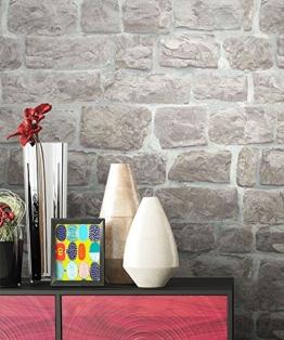 NEWROOM Steintapete grau Vliestapete Jung,Modern,Stein Muster/Motiv schöne moderne und edle Design 3D Optik , inklusive Tapezier Ratgeber - 1