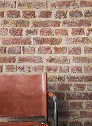 NEWROOM Steintapete Tapete Rot Mauer Stein Modern Papiertapete Braun Papier moderne Design 3D Optik Steintapete Ziegelstein Backstein Mauerwerk Klinker Loft inkl. Tapezier Ratgeber - 8