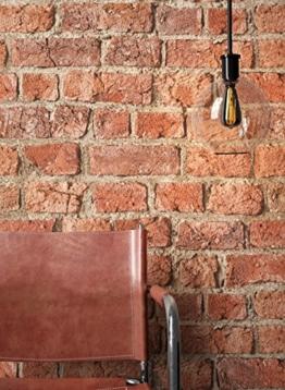 NEWROOM Steintapete Tapete Rot Mauer Stein Modern Papiertapete Braun Papier moderne Design 3D Optik Steintapete Ziegelstein Backstein Mauerwerk Klinker Loft inkl. Tapezier Ratgeber - 1