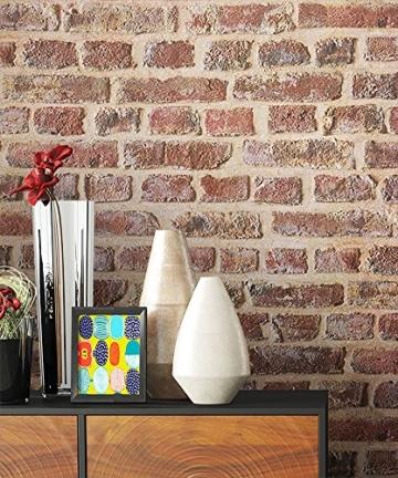 NEWROOM Steintapete Tapete Rot Mauer Stein Modern Papiertapete Braun Papier moderne Design 3D Optik Steintapete Ziegelstein Backstein Mauerwerk Klinker Loft inkl. Tapezier Ratgeber - 5