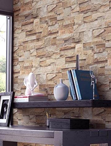 NEWROOM Steintapete Vlies Braun Rot Edel Mauer Stein Modern Tapete Vlies moderne Design 3D Optik Steintapete Ziegelstein Backstein Mauerwerk Klinker Loft inkl. Tapezier Ratgeber - 4