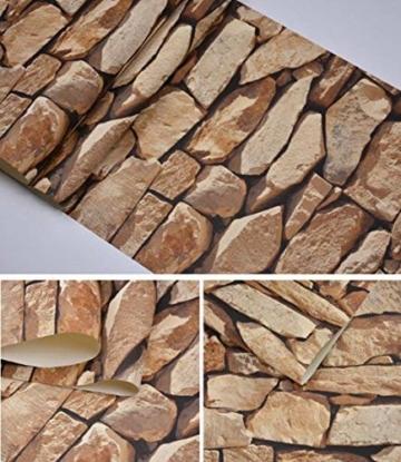 Steintapete 3d Optik,Tapete Steinoptik - Moderne Wanddeko Design PVC Stone Wallpaper Wandtapete Wand Dekoration Steintapete Steine Stein Mauer Steinoptik,0.53m*10m (Tapete Steinoptik) - 6