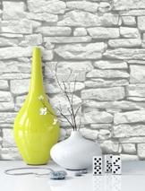 Steintapete in Weiß | schöne edle Tapete im Steinmauer Design | moderne 3D Optik für Wohnzimmer, Schlafzimmer oder Küche inklusive der Newroom-Tapezier-Profi-Broschüre, mit Tipps für perfekte Wände - 1