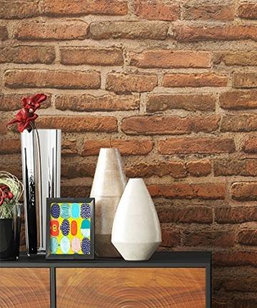 Steintapete Vlies Rot Braun Natur Stein   schöne edle Tapete im Steinmauer Design   moderne 3D Optik für Wohnzimmer, Schlafzimmer oder Küche inkl. Newroom Tapezier Profibroschüre mit super Tipps! - 3