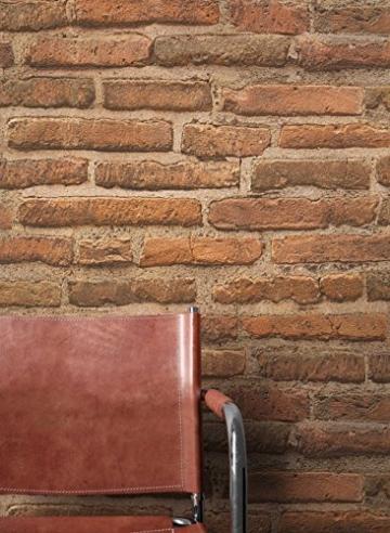 Steintapete Vlies Rot Braun Natur Stein   schöne edle Tapete im Steinmauer Design   moderne 3D Optik für Wohnzimmer, Schlafzimmer oder Küche inkl. Newroom Tapezier Profibroschüre mit super Tipps! - 5