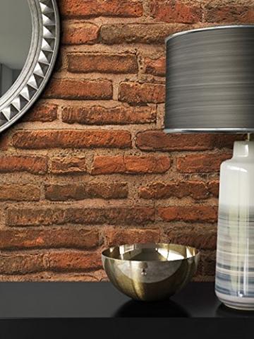Steintapete Vlies Rot Braun Natur Stein   schöne edle Tapete im Steinmauer Design   moderne 3D Optik für Wohnzimmer, Schlafzimmer oder Küche inkl. Newroom Tapezier Profibroschüre mit super Tipps! - 7