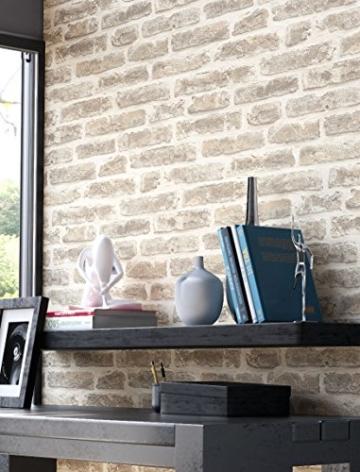 Steintapete Vliestapete Grau Creme, schöne edle Tapete im Steinoptik, moderne 3D Optik für Wohnzimmer, Schlafzimmer oder Küche inklusive Newroom Tapezier Profibroschüre, mit Tipps für perfekteWände - 3
