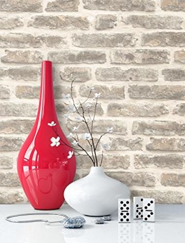 Steintapete Vliestapete Grau Creme, schöne edle Tapete im Steinoptik, moderne 3D Optik für Wohnzimmer, Schlafzimmer oder Küche inklusive Newroom Tapezier Profibroschüre, mit Tipps für perfekteWände - 5