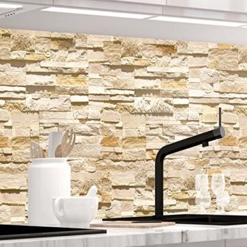 StickerProfis Küchenrückwand selbstklebend Pro STEINWAND Ashlar 60 x 60cm DIY - Do It Yourself PVC Spritzschutz - 1