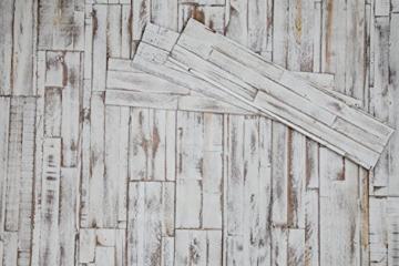 Wandpaneele selbstklebend aus Echtholz von Mywoodwall - Schöne Wandverkleidung - Brushed Coral (weiß), 100% FSC-zertifiziert und Umweltfreundlich, 1 Paket a 1,725m² - 1