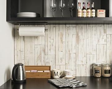 Wandpaneele selbstklebend aus Echtholz von Mywoodwall - Schöne Wandverkleidung - Brushed Coral (weiß), 100% FSC-zertifiziert und Umweltfreundlich, 1 Paket a 1,725m² - 5
