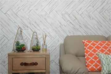 Wandpaneele selbstklebend aus Echtholz von Mywoodwall - Schöne Wandverkleidung - Brushed Coral (weiß), 100% FSC-zertifiziert und Umweltfreundlich, 1 Paket a 1,725m² - 6