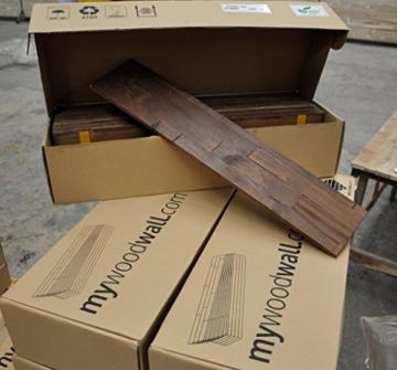 Wandpaneele selbstklebend aus Echtholz von Mywoodwall - Schöne Wandverkleidung - Java (braun), 100% FSC-zertifiziert und Umweltfreundlich, 1 Paket a 1,725m² - 9