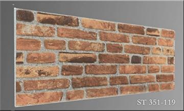 Wandverkleidung in Steinoptik für Schlafzimmer, Wohnzimmer, Küche und Terrasse in Klinkeroptik Look. (ST 351-119) - 4