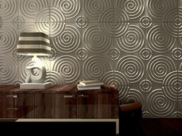 Wandverkleidung Wanddeko 3d Ripple für Innenwände, 100% umweltfreundlich aus Bambus, 12Paneele 50x 50cm = 3m2 - 4