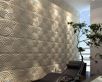 Wandverkleidung Wanddeko 3d Ripple für Innenwände, 100% umweltfreundlich aus Bambus, 12Paneele 50x 50cm = 3m2 - 5
