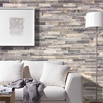 wodewa Holz Wandverkleidung Vintage Optik I 1m² Nachhaltige Echtholz Wandpaneele Moderne Wanddekoration Holzverkleidung Holzwand Wohnzimmer Küche Schlafzimmer V006 - 2