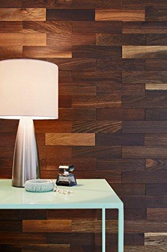 wodewa Wandverkleidung Holz 3D Optik I Eiche Tabak I 1m² Wandpaneele Moderne Wanddekoration Holzverkleidung Holzwand Wohnzimmer Küche Schlafzimmer - 3