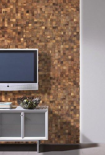 wodewa Wandverkleidung Holz 3D Optik I Nussbaum I 30x30cm Netz Wandpaneele Moderne Wanddekoration Holzverkleidung Holzwand Wohnzimmer Küche Schlafzimmer - 3