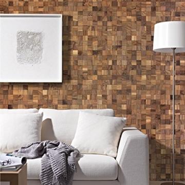 wodewa Wandverkleidung Holz 3D Optik I Nussbaum I 30x30cm Netz Wandpaneele Moderne Wanddekoration Holzverkleidung Holzwand Wohnzimmer Küche Schlafzimmer - 1