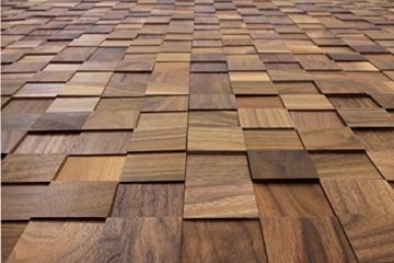 wodewa Wandverkleidung Holz 3D Optik I Nussbaum I 30x30cm Netz Wandpaneele Moderne Wanddekoration Holzverkleidung Holzwand Wohnzimmer Küche Schlafzimmer - 5